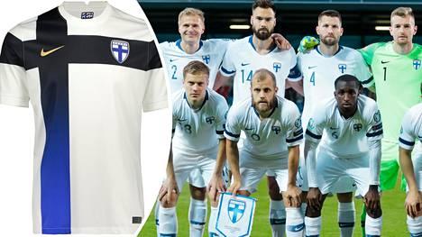 Joukkuekuvassa näkyy, millaisilla paidoilla Huuhkajat pelasivat voitokkaissa EM-karsinnoissa. Vasemmalla uusi kotipelipaita.