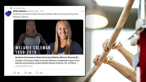 Southern Connecticut State -yliopiston voimistelija Melanie Coleman, 20, menehtyi sunnuntaina kuolettaviin selkärankavammoihinsa sairaalaassa.