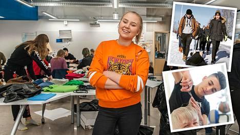 Iida-Stiina Suihkonen frendaalien valmistuspajalla. Nuoret juttelivat kadulla kohtaamilleen ihmisille ja keräsivät näiden tarinoita. Vanhuksille tarjottiin myös hemmotteluhoitoja, kuten kampauksia.