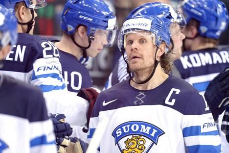 Jokinen kuvattuna Minskissä 2014 alkulohkon ottelussa Valko-Venäjää vastaan.