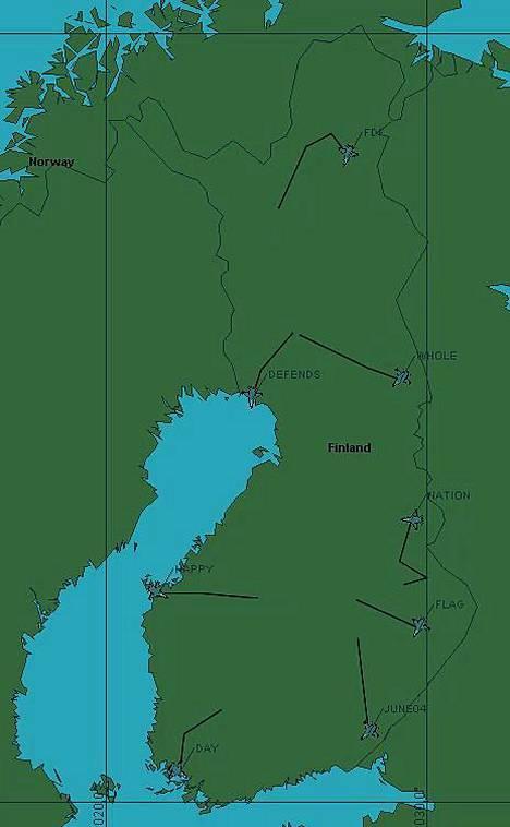 Ilmavoimat julkaisi kartan Puolustusvoiman lippujuhlapäivän lennoista.