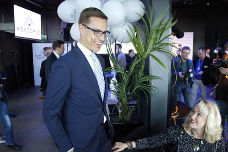 Pääministeri ja kokoomuksen puheenjohtaja Alexander Stubb vaalivalvojaisissa.