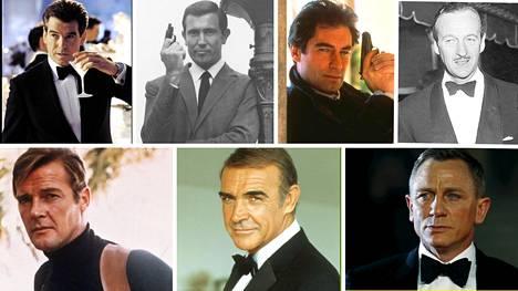 Virallisissa James Bond -filmeissä tappolupaa on kantanut kuusi eri näyttelijää, minkä lisäksi David Niven (ylhäällä oikealla) on tähdittänyt Bond-parodiaa.