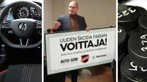 Petri Kapiainen osui kiekolla vain kahden sentin aukkoon ja voitti auton.
