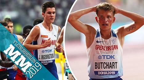 Jakob Ingebrigtsen (vas.) hylättiin, mutta Norjan valitus meni läpi. Brittijuoksija Andrew Butchart jäi niukasti 5000 metrin finaalin ulkopuolelle.