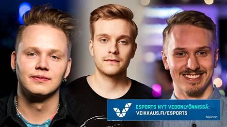 Miikka Kemppi (vasen), Jesse Vainikka (keskellä) ja Joonas Savolainen ovat kaikki menestyneet tänä vuonna omissa peleissään.