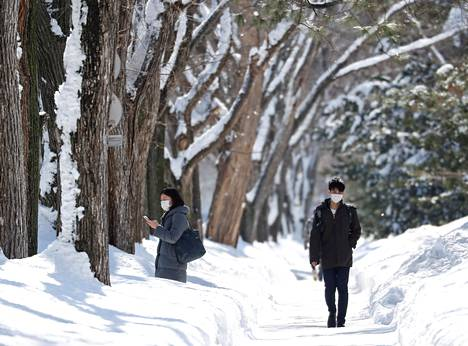 Lähtokohtaisesti maski toimii pakkasella. Kuva Sapporosta Japanista viime helmikuulta.