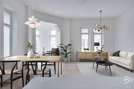TURKU: kerrostalo 2h + k + s 116,5 neliötä, myyntihinta 850 450 euroa. Aurakadun varressa olevaan Verdandin taloon on saneerattu myös pienemmän kokoluokan asuntoja.