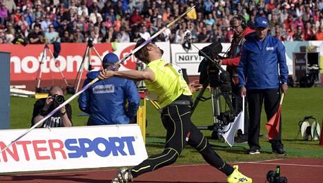 Antti Ruuskanen voitti keihään SM-kultaa Porissa.
