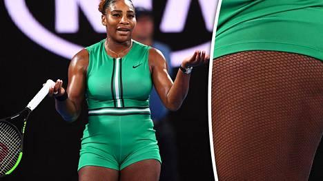 """Serena Williamsin verkkosukkahousut ja vihreä sortsiasu keräsivät katseet Australiassa – """"Näyttää upealta"""""""