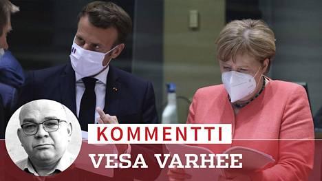 Ranskan presidentti Emmanuel Macron ja Saksan liittokansleri Angela Merkel neuvotteluissa Brysselissä.
