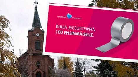 Tämän mainoksen voimin Jyväskylän seurakunta mainostaa uusia toimitilojaan.