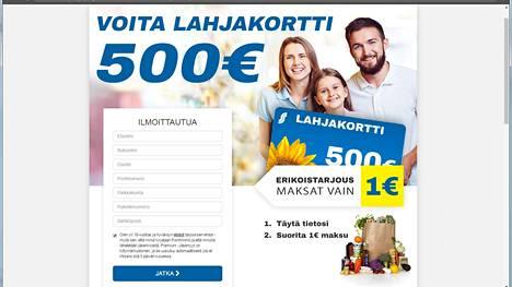 Kyselyn lopuksi kysytään vastaajan yhteys- sekä luottokorttitietoja. Pienessä tekstissä mainitaan, että kyseessä on sitoutuminen maksulliseen palveluun.