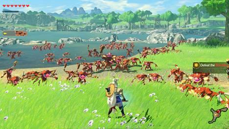 Yksi vastaan sata ei ole ongelma eikä mikään tässä kummassa Zelda-sivuosassa. Sarjakuvamaisen mäiskeen ohella tarkoitus on myös hallita ympäristöä valtaamalla taktisesti tärkeitä alueita.