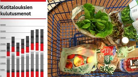 Suomalaisten kulutusmenoista eniten menee asumiseen.