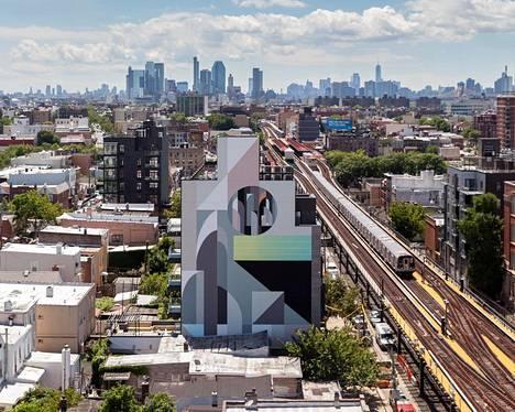 Tony Sjömanin tavaramerkki on geometriset, usein jopa kokonaisen seinän peittävät muraalit.