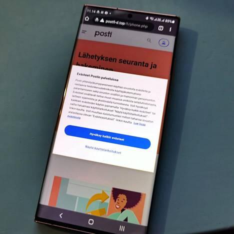 Huijaussivut voivat olla todella aidon näköisiä – aidomman näköisiä kuin aidot. Postin nimissä talvella tehty huijaussivu kysyi jopa evästehyväksyntää. Sen jälkeen se yrittää syöttää haittaohjelmaa Android-puhelimiin.