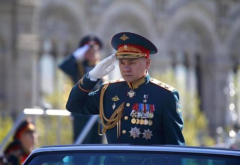 Venäjän puolustusministeri Sergei Shoigu toisen maailmansodan vuosipäivän paraatin harjoituksissa Moskovassa, toukokuun 7. päivä.