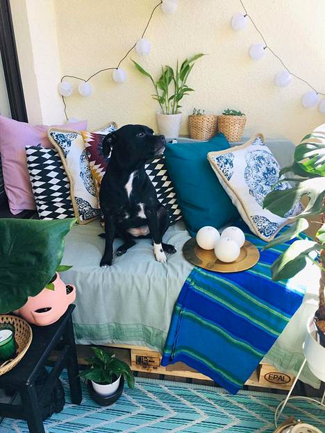 Lara, 4, tykkää makoilla sohvalla ja katsella parvekelasien välistä, mitä pihalla tapahtuu.
