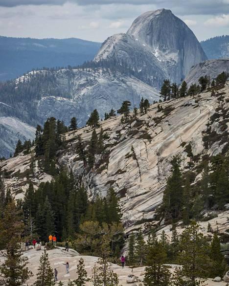 Kuvassa taustalla kohoavan Half Domen huipulle kiipeää parhaimpaan sesonkiaikaan jopa 1000 ihmistä päivässä.