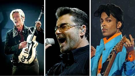 David Bowie, George Michael ja Prince kuolivat vuonna 2016.