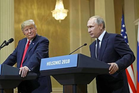 Donald Trump ja Vladimir Putin pitivät ensimmäisen yhteisen huipputapaamisen Helsingissä heinäkuussa 2018.