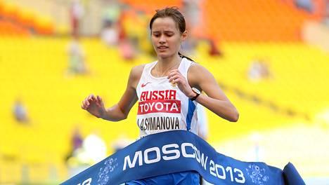 Pahamaineisen dopingvalmentaja Viktor Tsheginin talliin kuuluva Lontoon olympialaisten ja Moskovan MM-kisojen kultamitalisti Jelena Lashmanova kärysi 22. kesäkuuta 2014.
