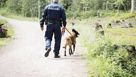 Poliisikoiran rooli oli ratkaiseva rikossarjan selviämisessä. Arkistokuva.