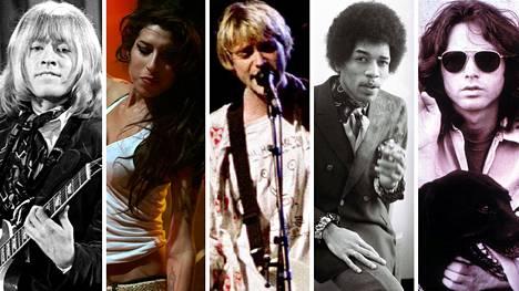 Surullinen 27-vuotiaina kuolleiden kerho: vas. Brian Jones, Amy Winehouse, Kurt Cobain, Jimi Hendrix ja Jim Morrison.