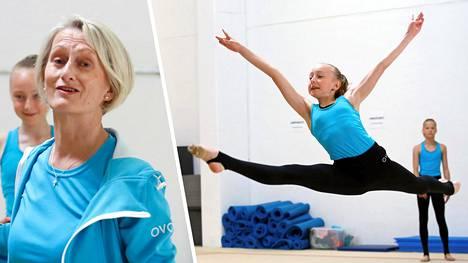 Pulmu Puonti (vas.) valmentaa Olarin voimistelijoita. Kuvassa Ksenia Kameneva suorittamassa hyppyä.