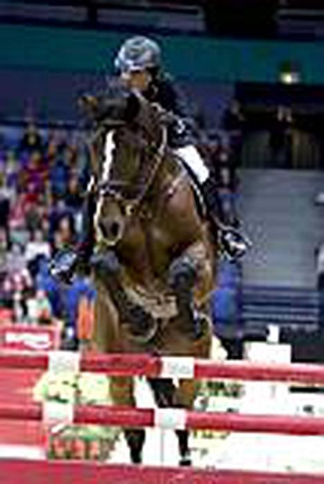 Noora Pentti esiintyi edukseen Helsingin Horse Shown karsinnassa.