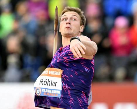 Paavo Nurmen kisojen miesten keihään voittoon heitti Saksan Thomas Röhler.