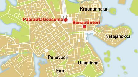 Omarin kuvauslokaatioita Helsingin keskustan tuntumassa.