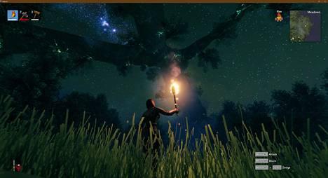 Valheimin taivaalla loistaa maailmanpuu Yggdrasil.