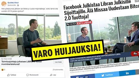 Facebookissa levitettävät uudet huijaukset perustuvat Mark Zuckerbergin naamaan ja Facebookin libra-virtuaalivaluuttaan.