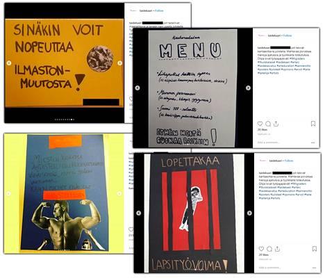 Koululaisten kulttuuriprojektissa tekemissä julisteissa otetaan kantaa moniin eri yhteiskunnallisiin asioihin, ei yksistään puoluepolitiikkaan.