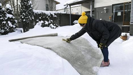 Maton pesussa voi käyttää apuna juuriharjaa. Pakkaslumi sopii pesuun, älä käytä märkää lunta.