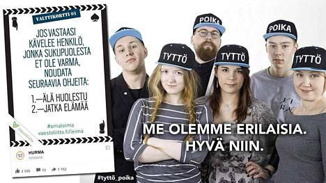 """Perussuomalaiset nuoret julkaisivat kuvan """"vastaiskuna feminismille"""" (oikealla). Väestöliiton nuortenlehti kaivoi vastaiskuksi esiin vanhan mainoksensa vasemmalla."""