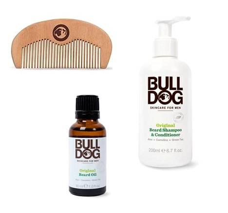 Bulldogin lahjapakkaus sisältää kaiken tarvittavan parranhoitoon. Parranpesutuote, partaöljy ja persikkapuinen partakampa 29,90 €, Bulldog.