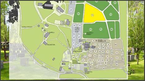 Vantaan seurakuntien käyttöönottama hautahakupalvelu tuottaa haun perusteella kartan hautausmaasta, johon vainajan hautapaikka on merkitty keltaisella.