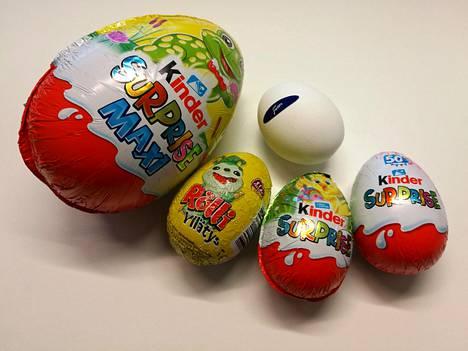 Kinder Maxi Surprise, Rölli, Mignon ja Kinder ovat markettien myydyimpiä suklaamunia.