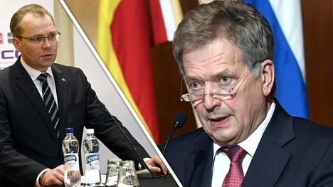 Tasavallan presidentti Sauli Niinistö (oikealla) ei ole ollut tietoinen puolustusministeri Jussi Niinistön kaavaileman suursotaharjoituksen valmistelusta.