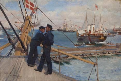 """Albert Edelfeltin maalauksista on esimerkkinä suurikokoinen """"Kööpenhaminan ankkuripaikalta III"""" (1890)."""