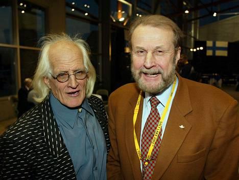 Kuvanveistäjä Eino Romppanen ja Häyrinen Salt Lake Cityn olympialaisissa 2002 helmikuussa.