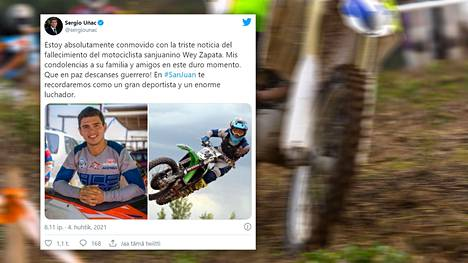 Etenkin Etelä-Amerikassa tunnettu motocross-ajaja Alberto Zapata on kuollut 23-vuotiaana.