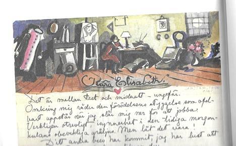 Jansson piirsi kirjeeseen kuvan huoneestaan.