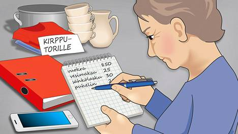 Kodin tuloista ja menoista kannattaa pitää kirjaa vaikka ruutuvihkon avulla.
