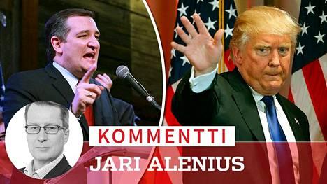 Ted Cruz ja Donald Trump.
