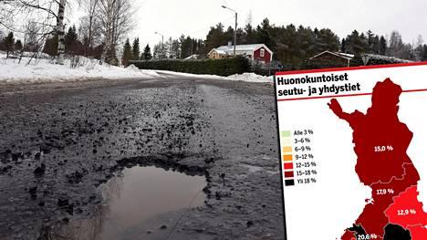Karut lukemat Suomen teistä: Noin 7000 km huonossa kunnossa – katso oman maakuntasi tilanne