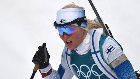 Mari Laukkanen 15 kilometrin kilpailussa Pyeongchangin olympialaisissa.